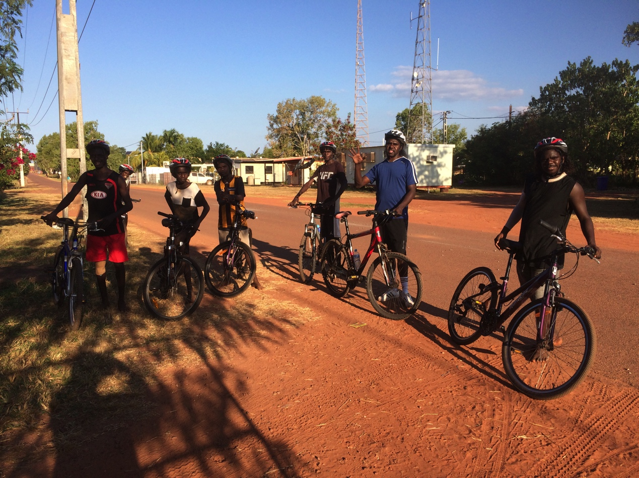 Young men and elders on bicycle ride from Darwin to Alice Springs